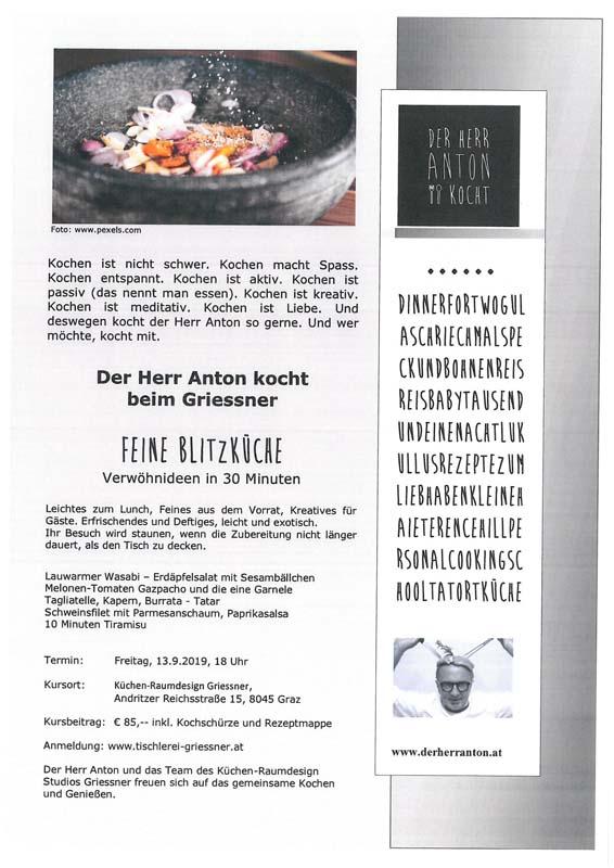 Kochen im Küchen-Raumdesign Studio Griessner mit Herrn Anton